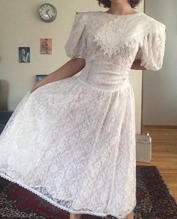 Vintage 80s Gunne Sax lace gown