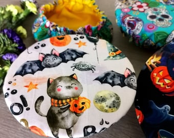 Halloween bowl wrap - Stretchy dish, bowl cover - Sustainable swaps - Day of the Dead - cute Halloween party decor - meal preppers gift UK
