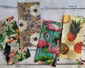 Set of 2 beeswax food wrap size 25x25cm - Handmade sticky wax food wraps - Pineapple, Jungle,  Flamingo, Bee - Wax wrap set UK