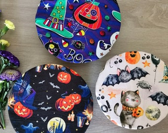 Halloween bowl cover - Stretchy dish or bowl wrap - Sustainable  reusable swaps - Day of the Dead party decoration, Spooky or cute theme