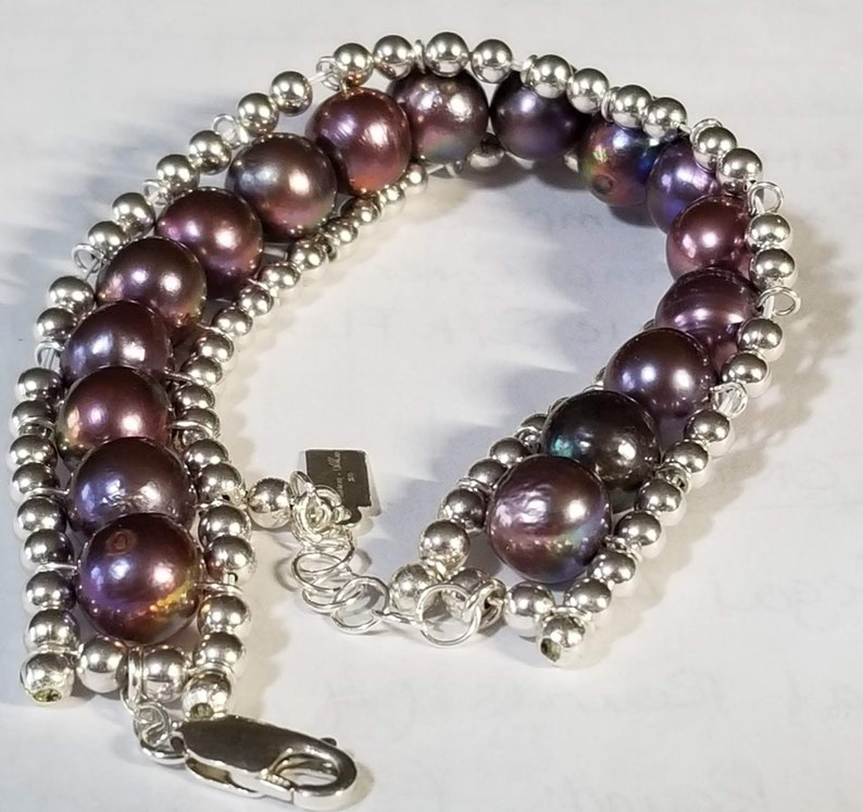 Sterling Silver Lobster Claw and Extension Chain Cultured Freshwater Pearls Peacock Pearl Bracelet