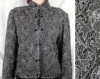 4d8e8d065af91 Vintage LAURENCE KAZAR Silk Beaded Evening Jacket | Retro Black Long Sleeve  Formal Jacket