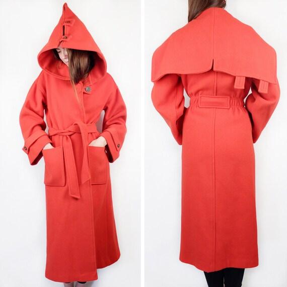 Vintage 60s Belted Hooded Coat * w/ pockets * | Re