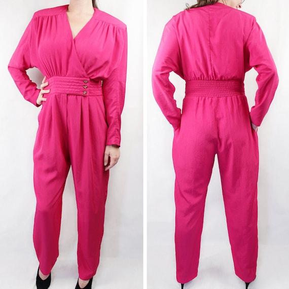 Vintage 80s Hot Pink Jumpsuit * w/ pockets * | Ret