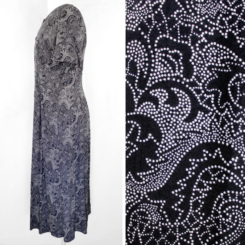Vintage 90s Norton McNaughton Dotted Paisley Maxi Dress    Retro 1990s Petite Navy Blue Polka Dot House Dress