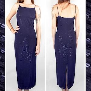 Vintage 80s One Shoulder Sequin Gown    Retro 1980s Blue Femme Fatale Long Maxi Party Dress
