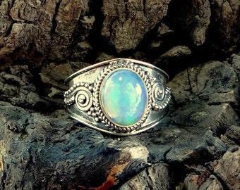 Pink Gold Opal  Tsavorite Sterling Silver Ring US Size 6 Germ Size 16.5 France Size 51.5 Mother/'s Day Gift Japan Size 10.5 UK Size M