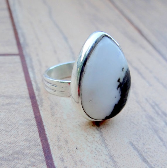 Solid 925 Sterling Silver Ring Natural Scenic Dendrite Agate Latest Jewelry Size 10.5