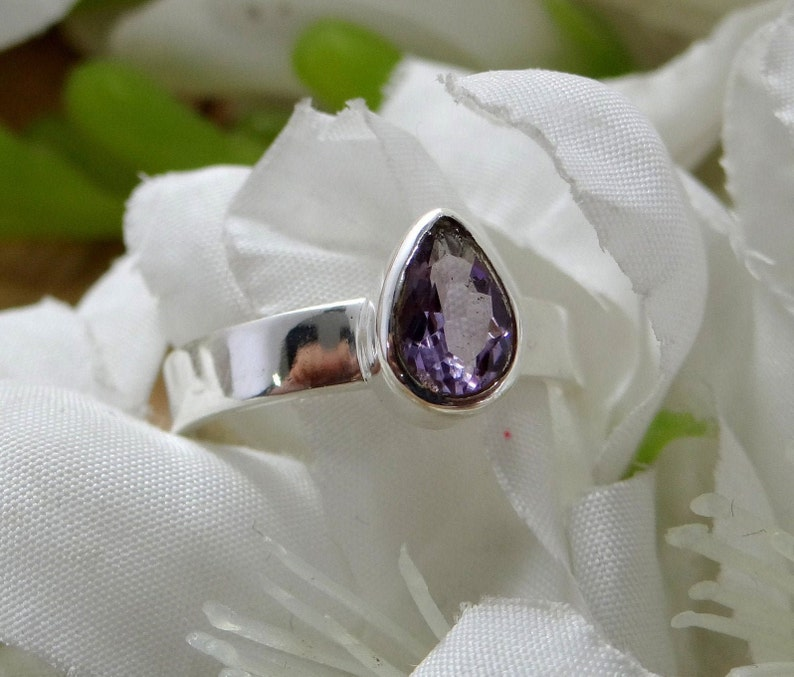Pear Shape Ring 5,6,7,8,9,10,11 US Ring Size 925 Sterling Silver  Jewelry Boho Ring NATURAL AMETHYST Ring Beautiful Hand Made Ring