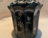Fenton black coral flowers artist signed white trim trinket box