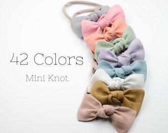 Mini Petite Knot Baby Bow. Newborn Headband. Baby Clip. Baby Hair Clip. Girl Hair Clip. Toddler Hair Clip. Linen Bow