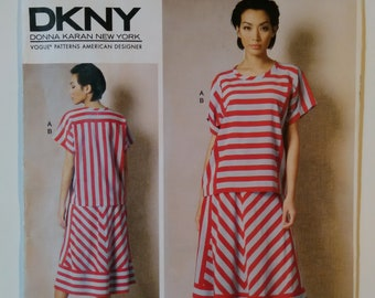 VOGUE SEWING PATTERN 1487 MISSES 6-14 DKNY LOOSE-FITTING PULLOVER TOP BIAS SKIRT