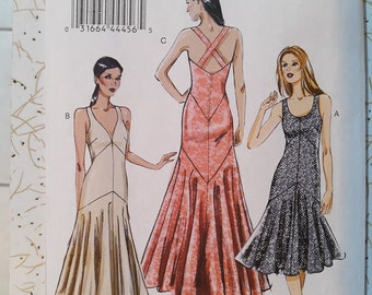 VOGUE PATTERNS Custom Fit 1930s Hollywood Style Evening Cocktail Dress 8814 Size 6-14 or 14-22