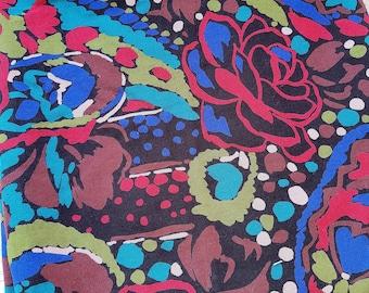 Vintage 1980s Wool Challis Fabric~ Fine Expressionist Paisley Print 1.4m
