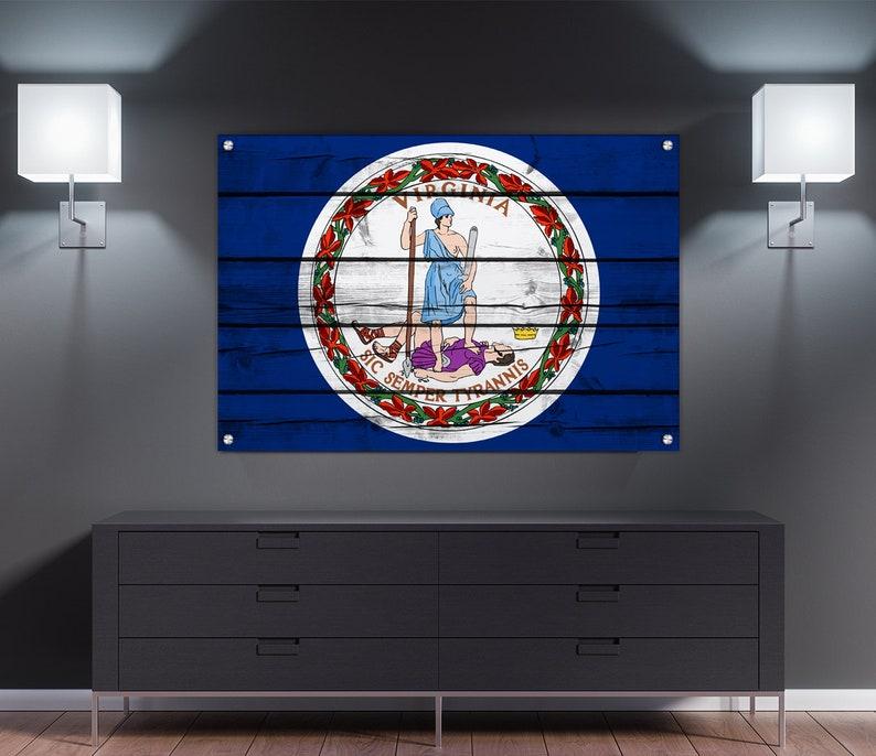 Virginia Wood Print Printed on 12 Wood Gallery Mounts Richmond State Flag Wall Decor | Pop Art Arlington
