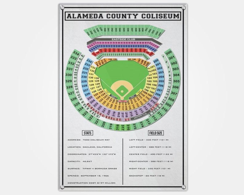 Oakland Coliseum Wood Print As Seat Map Seating Chart Pop Art Wall Decor Man Cave Oakland As As Seat Map