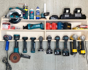10 Slot CNC Tool Organizer Holder   Charger   Cordless Drill   Impact Gun   Grinder & 18v 12v battery   Made in USA   Fathers Day Gift