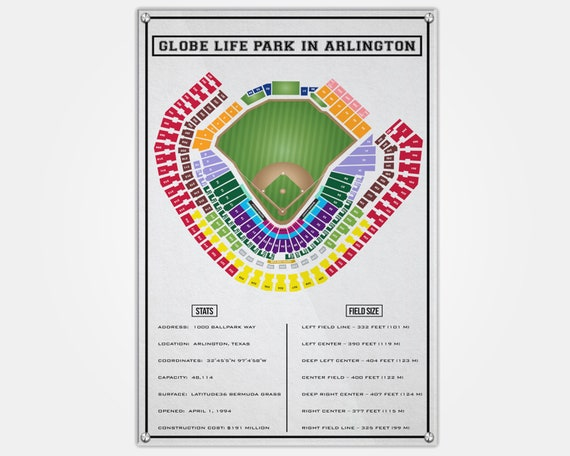Rangers Stadium Wood Print Stadium Seat Map Seating Chart Etsy