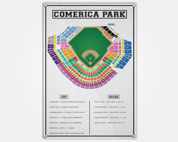 Comerica Park Wood Print | Comerica Seat Map | Seating Chart | Pop Art |  Wall Decor | Man Cave | Detroit Tigers | Seat Map | Comerica Park
