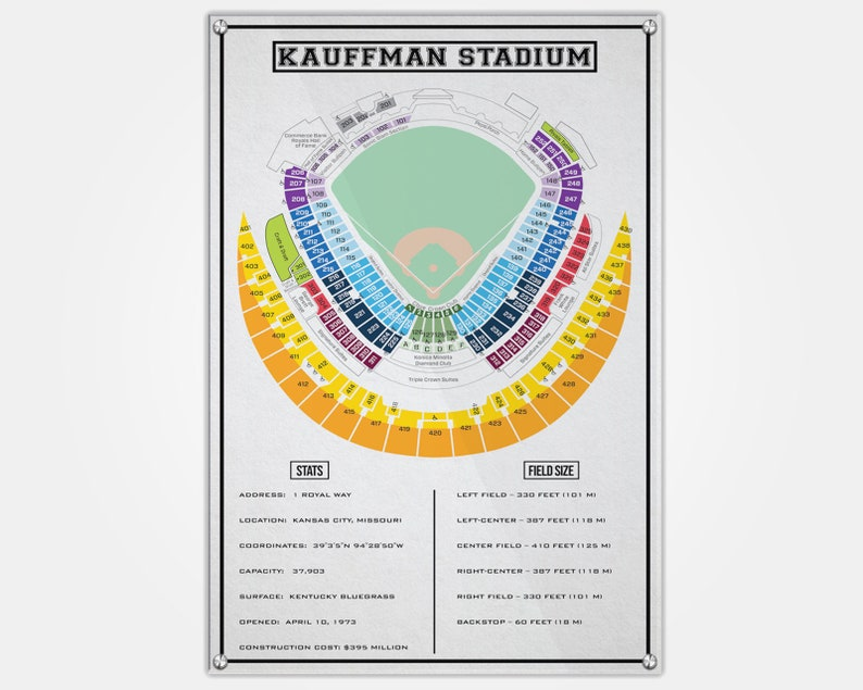 Kauffman Stadium Wood Print Kc Seat Map Seating Chart Pop Art Wall Decor Man Cave Kc Royals Kansas City Seat Map