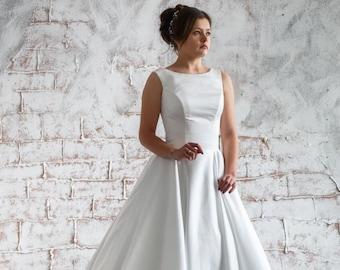 Long Satin Wedding Dress