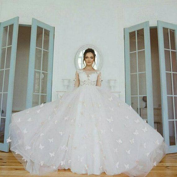 Summer Wedding Dress Buterfly Bridal Dress Plus Size Wedding Dress Ivory  Wedding dress Wedding dress With Trail Long Sleeve wedding Dress