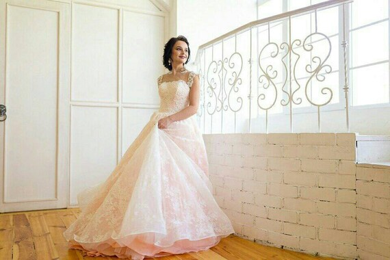 Custom Wedding Dress, Pink Wedding Dress, Plus Size Wedding Dress, Lace  Bridal Dress, Summer Bridal Dress, Bridal Dress, Boho Bridal Dress