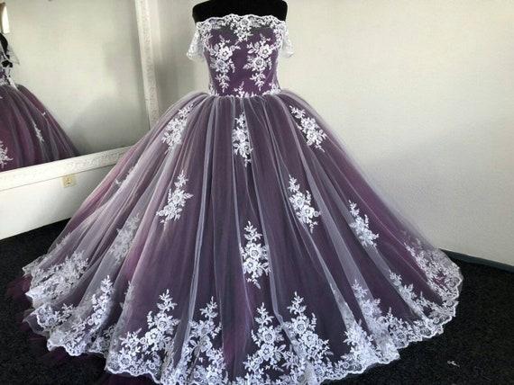 Purple Wedding Dress Gothic Wedding Dress Trail Wedding ...