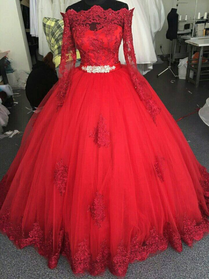 Red Wedding Dress Red Lace Dress Red Bridal Dress Red | Etsy