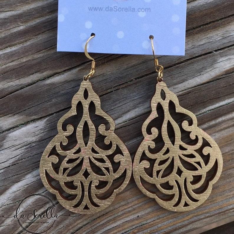 Wooden Earrings Lightweight Large Earrings image 0