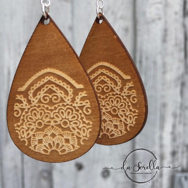 Wooden Earrings Lightweight Large Earrings LACY image 0
