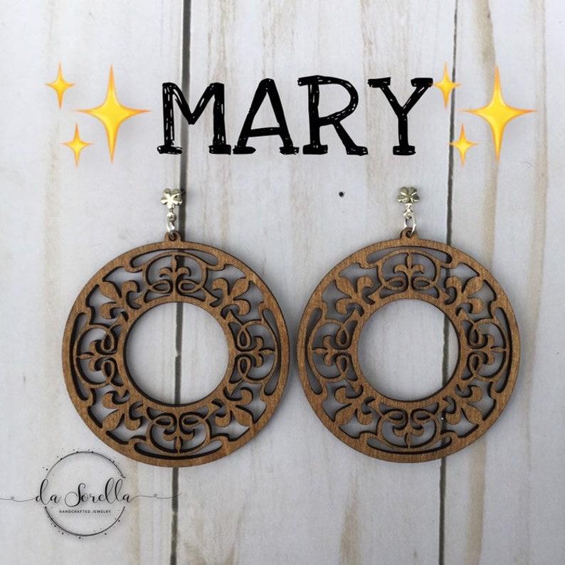 Wooden Earrings Lightweight Large Earrings MARY image 0