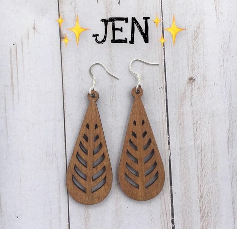 Wooden Earrings Lightweight Large Earrings JEN image 0