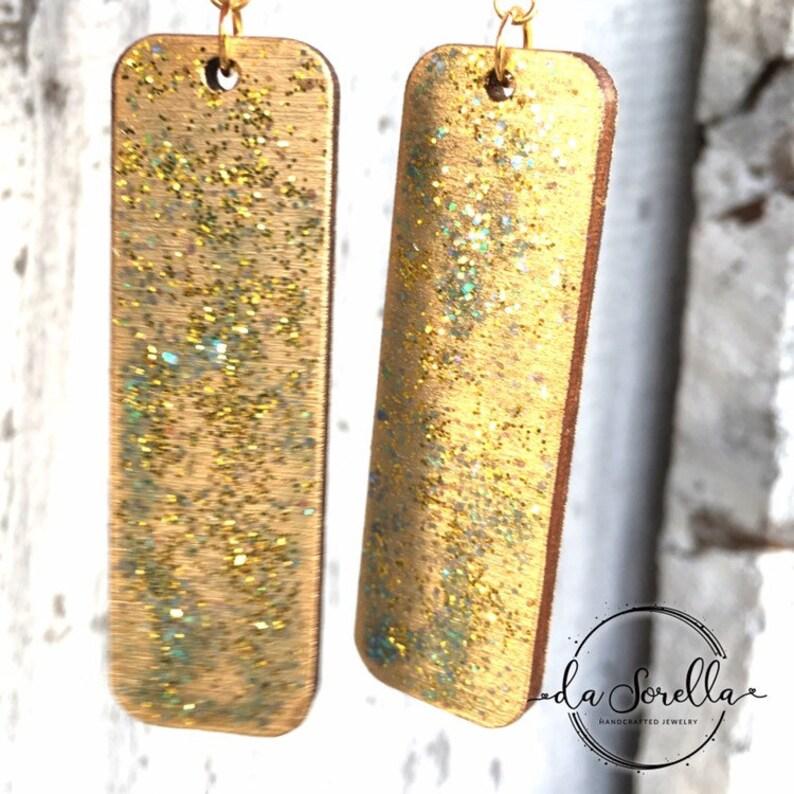 Wooden Earrings Lightweight Large Earrings Larson in gold image 0