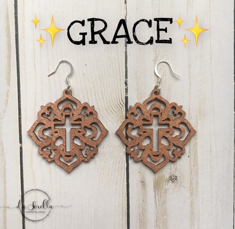 Wooden Earrings Lightweight Large Earrings GRACE image 0