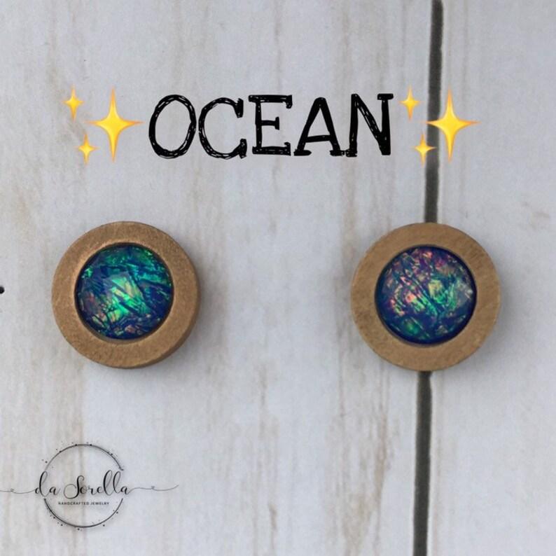 Wooden Earrings Lightweight Stud Earrings OCEAN image 0