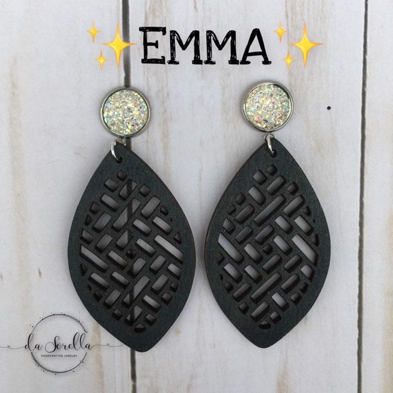 Wooden Earrings Lightweight Large Earrings EMMA image 0
