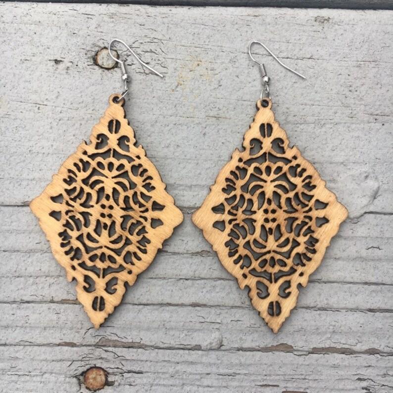 Wooden Earrings Lightweight Large Earrings GWEN image 0