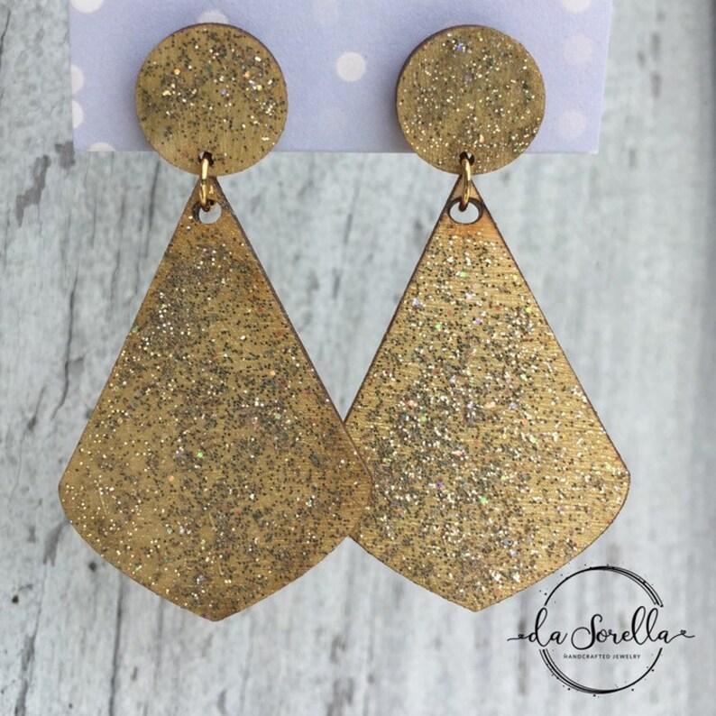Wooden Earrings Lightweight Large Earrings  DEVON in gold image 0