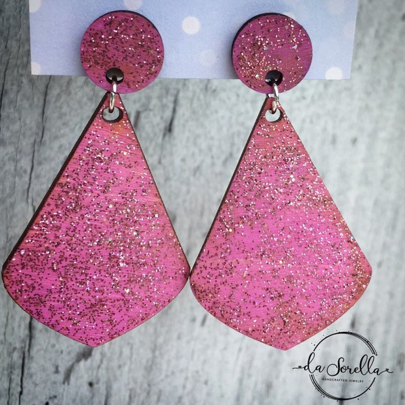 Wooden Earrings Lightweight Large Earrings  DEVON in pink image 0