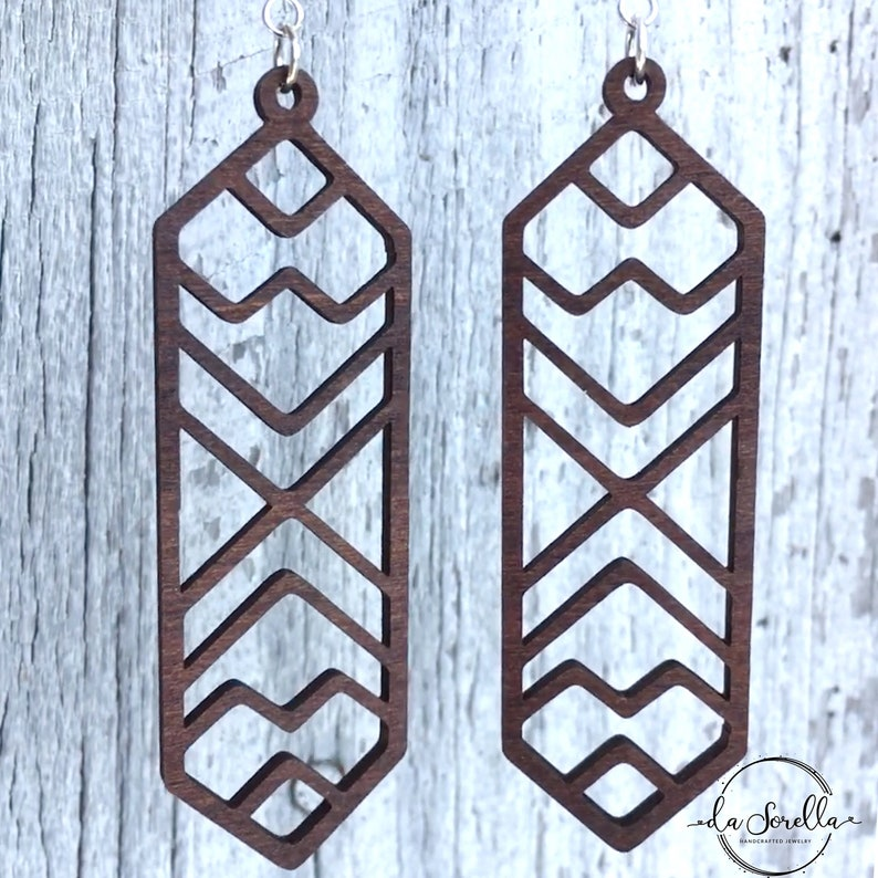 Wooden Earrings Lightweight Large Earrings TANYA image 0