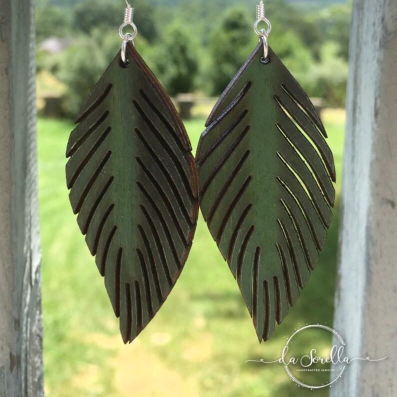 Wooden Earrings Lightweight Large Earrings LEIF in Green image 0