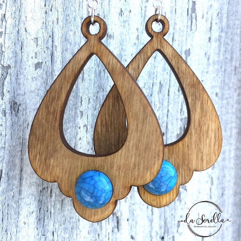 Wooden Earrings Lightweight Large Earrings DENISE image 0