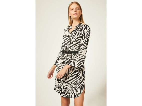 81cfcee32dd7 Animal Print Shift Dress With Belt | Etsy