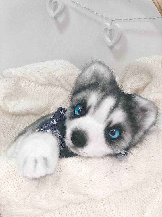 Husky Toysoft Huskyhusky Plushrealistic Husky Husky Puppy Etsy