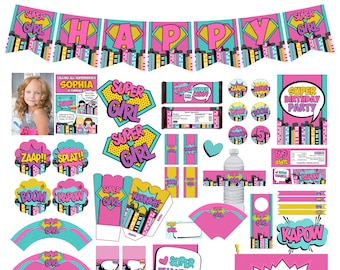 Girl Superhero Printable Birthday Package Pink Comic Style Party Decoration Supergirl Invitations Super Kit