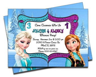 PRINTED Disney Frozen Elsa Anna Joint Twins Siblings Personalized Birthday Invitation