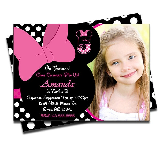 PRINTED Minnie Mouse Personalized Birthday Invitation For Girls