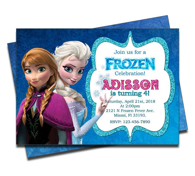 Printed Disney Frozen Personalized Birthday Invitation For Girls