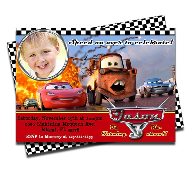PRINTED Disney Cars Lightning McQueen Personalized Birthday